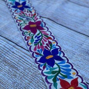 White floral belt